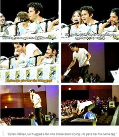 Dylan O'Brien gives his name tag to a crying fan at Comic Con