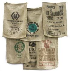 Must think of something cool to do with these... Used burlap coffee bags from onlinefabricstore.net $2.40 #coffee #craft