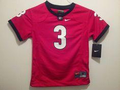 Georgia bulldog kids size 6 #3 red jersey made by nike #Nike #georgiabulldog