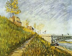 Banks of the Seine with the Pont de Clichy Vincent van Gogh 1887 Tate Modern - London Painting - oil on cardboard