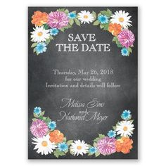 Chalkboard Garden Romance Magnet - Save the Date