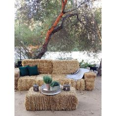 Breeding Centre opening - hay bale couch and coffee table