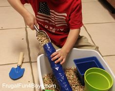Turn a paper towel roll into an open-ended rainstick for sensory play!