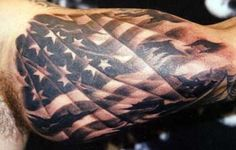 It is really one of the greatest acts of patriotism to get a tattoo of the American flag on any part of your body. There are a variety of reasons for getting American flag tattoos… Sweet Tattoos, Best Sleeve Tattoos, Body Art Tattoos, Mens Tattoos, Tatoos, Cool Tattoos For Guys, Awesome Tattoos, Nice Tattoos, Ink