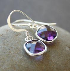Purple Amethyst Quartz Earrings - Cushion Cut - Sterling Silver. $42.00, via Etsy.