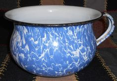 VINTAGE ENAMELWARE GRANITEWARE COLBALT BLUE SWIRL MARBLED CHAMBER POT or POTTY
