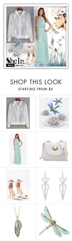 """""""SheIn - White Organza Jacket with Dragonflies"""" by giovanina-001 ❤ liked on Polyvore featuring Material Girl, WithChic, Posh Girl and BillyTheTree"""