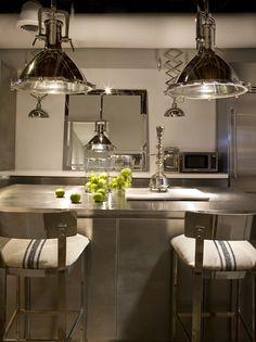 Michael Dawkins Home - Interior Designer - New York - Contemporary - Industrial - Modern - Transitional - Breakfast Room - Kitchen - Lights - Barstools - Steel - Stainless - Mirror - Sleek