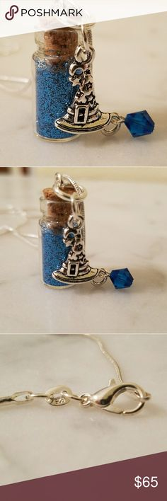 """Sale Witches Hat Pixie Bottle Necklace 925 Sterling Silver snake chain roughly 30"""" in length with a glass dust bottle filled with colorful glitter. Witch hat charm with a swavorski crystal.   Magen's Fairytale Creations original handmade by me. Magen's Fairytale Creations Jewelry Necklaces"""