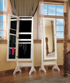 "Thin 61"" Tall Storage Organizer Standing Mirror Jewelry Box Armoire White Wood"