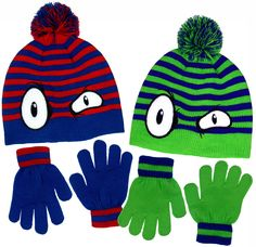 "Boy's Monster Eyes Knit Beanie & Gloves Set in Red & Blue and Green & Blue (Blue & Red). Boy's Monster Eyes knit beanie and gloves set in Red & Blue and Green & Blue. Stretch knit beanies with scary monster eyes on the front, pom on the top and an all around vivid striped pattern. Matching stretch knit gloves with 1"" knit stay-put wristbands helps keep the cold out for warmer hands and fingers. Medium weight knit is perfect for cool fall days and blustery winters. Easy care too. 2 great..."