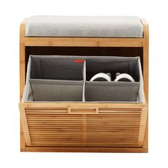Lotus Bamboo Storage Bench | The Container Store