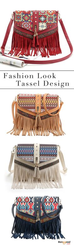 US$25.99+Free shipping. Women' s Bags, Shoulder Bag, Crossbody Bag, PU Leather, National, Tassel, Vintage, Casual. Color: White, Red, Dark Blue, Brown. Shop now~