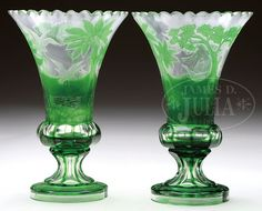 Moser Engraved And Cut Vases Have Green Cut To Clear Design Of Woods And A Pond With Intaglio Cut Ducks In Various Stages Of Flight, Green Foot Is Engraved With A Spray Of Flowers, Stems And Leaves Which Gives Way To A Facet Cut Stem  -  James D. Julia, Inc. Auctioneers