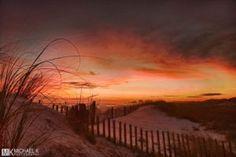 Sunset on the beach at the Henderson Park Inn.