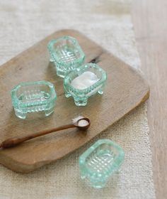 Aqua Green Glass Salt Cellars