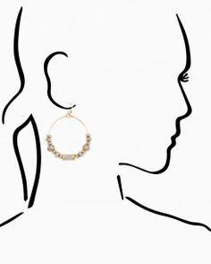 Cerise Beaded Hoop Earrings