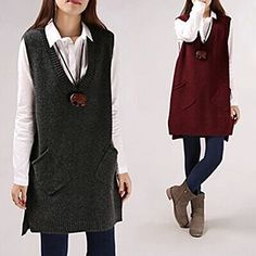 Buy FR Long V-Neck Vest at YesStyle.com! Quality products at remarkable prices. FREE WORLDWIDE SHIPPING on orders over US$ 35.
