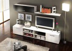 mueble tv centro de entretenimiento modelo horizon melamina