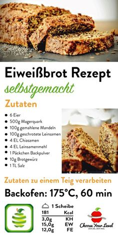 Low Carb Brot Rezept - Choose Your Level™ Protein bread recipe with curd - protein bread recipe low carb - recipe for protein bread - cyl recipes - protein bread recipe chooseyourlevel - choose Quark Recipes, Almond Flour Recipes, Almond Bread, Dessert Recipes, Snacks Recipes, Entree Recipes, Pizza Recipes, Cookie Recipes, Diet Recipes