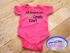 All American corvette girl infant one piece bodysuit. Perfect baby shower gift. A personal favorite from my Etsy shop https://www.etsy.com/listing/548719691/all-american-corvette-girl-infant-baby