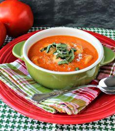 Renee's Kitchen Adventures: Creamy Tomato Tortelleni Soup    Quick meatless option with plenty of flavor!  #soup #recipe #tomato