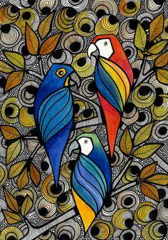 Ararinhas pela artista Luciana Pupo - IG @lucianapupoart