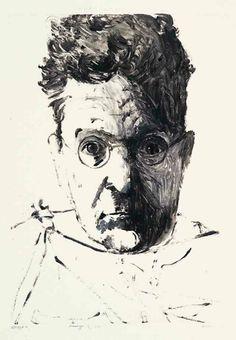 """""""Orozco,"""" Leonard Baskin, 1982, monotype, 22 1/2 x 15"""", private collection."""