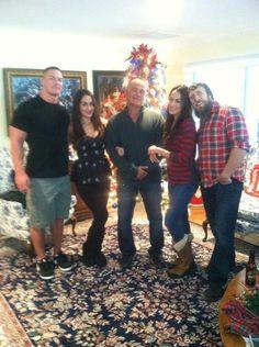 John cena & Daniel Bryan with twin girl friends, the Bella twins...