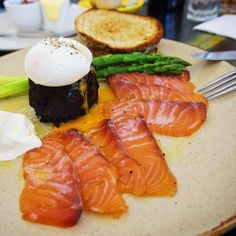 @nunam_northbridge - citrus cured salmon  (poked)  soft boiled egg  sweet potato chive cream  asparagus  and toast