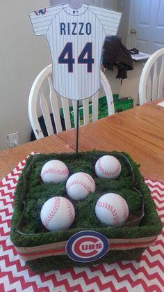 Bar Mitzvah Sports Theme http://www.bmmagazine.com/home/mitzvah-store - Baseball Bar Mitzvah centerpiece.