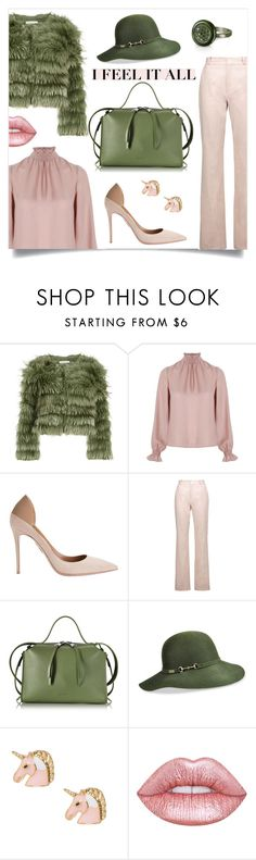"""Green & Blush"" by elli-argyropoulou ❤ liked on Polyvore featuring Alice + Olivia, Related, Aquazzura, Valentino, Jil Sander, Betmar, Lime Crime, Azhar, hat and fur"