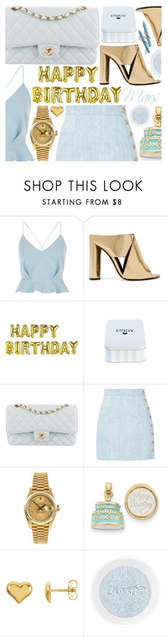 """""""Happy B-Day Mars!"""" by pastelneon ❤ liked on Polyvore featuring River Island, Tom Ford, Chanel, Balmain, Rolex and Kevin Jewelers"""