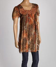 Another great find on #zulily! Orange & Brown Animal Silk-Blend Tunic by Pretty Angel #zulilyfinds