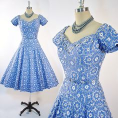 Mother of the Bride dress for Joanie || Vintage 50s Cotton Dress 1950s Cocktail Party by GeronimoVintage, $359.00