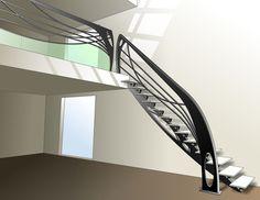 Escalier design en métal et verre dessiné par Jean Luc Chevallier pour La Stylique