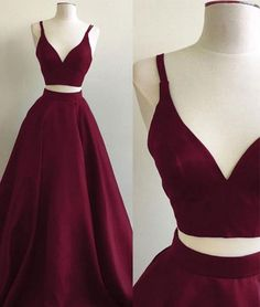 Simple two pieces burgundy long prom dress, burgundy evening dress for teens