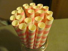 12 Milk Shake / Smoothie Paper Straws on Etsy, $2.60
