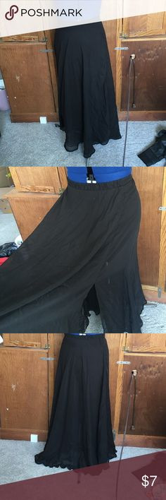 Chiffon maxi skirt Black chiffon maxi skirt. Lined from waist to just above the knee. Two slits about 21 in on each side. Elastic waistband. Worn but still in very good condition. Forever 21 Skirts Maxi