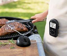 Wireless remote grilling thermometer for every Grill Master! Grilling Recipes, Gourmet Recipes, Smoke Bbq, Grill Master, Cooking On The Grill, Cooking Utensils, Williams Sonoma, Bbq Grill, Outdoor Cooking