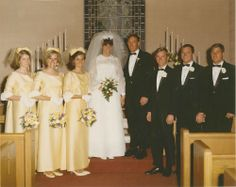 1969 wedding ~ gold satin bridesmaids