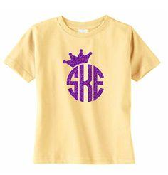 Large Glitter Crown Monogram Toddler TShirt Girls by VinylDezignz, $15.95