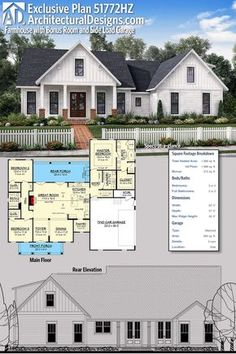 exclusive farmhouse with bonus room and side load garage plan 51772hz gives you just under 2000 - Farmhouse Plans 2000 Square Foot