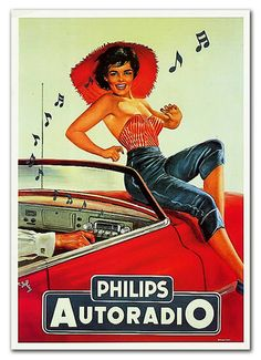 Vintage poster: Philips autoradio ...Please save this pin. Because for vintage collectibles - Click on the following link!.. http://www.ebay.com/usr/prestige_online