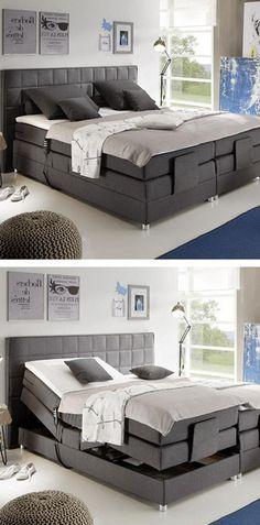 Boxspringbett in anthrazitfarbenen Textilstoff mit silbernen Füßen Couch, Wood, Furniture, Home Decor, Wood Dog, Tiny House Cabin, Wood Ideas, Madeira, Homemade Home Decor