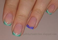 French tip nail art inspired by Disney Princess Ariel from The Little Mermaid. Tutorial can be found by following the link!