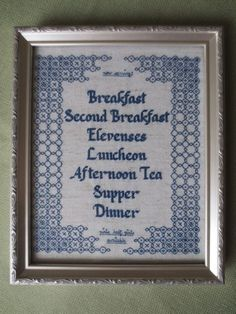 Hobbit meal plan cross stitch