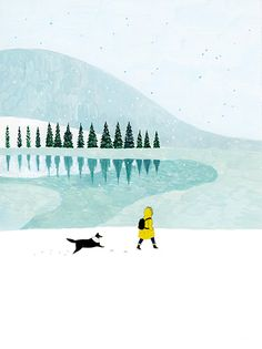 Walking in snow illustration. Art And Illustration, Illustration Inspiration, Illustrations And Posters, Arte Peculiar, Guache, Dog Art, Art Inspo, Painting & Drawing, Art Drawings