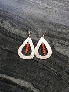 Silver teardrop earrings howlite earrings