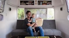 See inside the cozy Airstream trailer a father and daughter call home